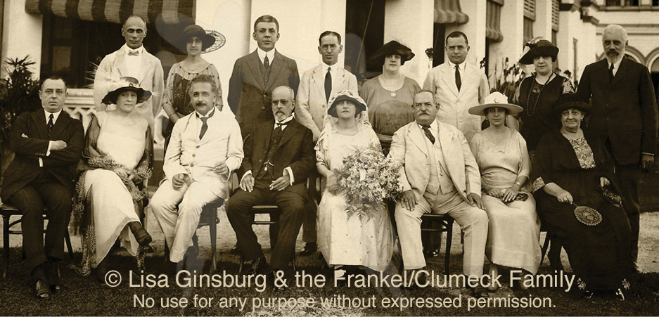 Menasseh Meyer's Estate, Singapore, November 2, 1922(From Left) FIRST ROW: Unidentified man, Mrs. Moselle Nissim,Julian Frankel, Charley Ginsburg, Tila Frankel, Victor Clumeck,Marie Frankel-Clumeck and Abraham Frankel;SECOND ROW: Mr. and Mrs. Montour, Albert Einstein,Sir Menasseh Meyer, Elsa Einstein, Mr. and Mrs Weil and Rosa Frankel