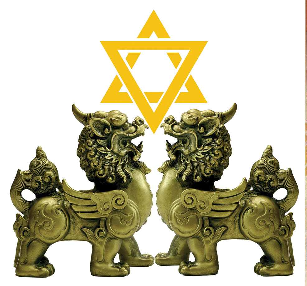 Chinese Lions with Jewish star between them